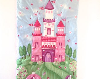 SALE Princess Castle Room Decor Quilted Wall Hanging Fairy Tale Pink