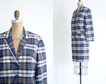 SALE || vintage 50s ladies suit - pencil skirt & jacket / Blue Plaid - librarian / Geek Chic - 1950s