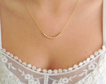 Gold necklace, Thin gold necklace, Tiny gold Necklace, Gold bead necklace, Everyday gold necklace, Minimalist gold necklace
