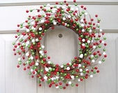 Holiday Wreath, Christmas Wreath, Berry Wreaths, Red Green White, Berry Candle Ring, Berry Centerpiece, Double Doors Wreaths
