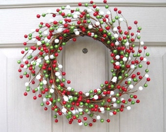 Christmas Wreath, Berry Wreaths, Holiday Door Wreath, Red Green White, Berry Candle Ring, Berry Centerpiece, Double Doors Wreaths