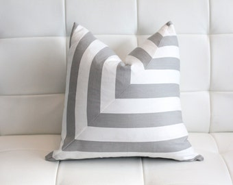 Gray Stripes Decorative Pillow Cover- Gray and White- Stripes- 18x18""