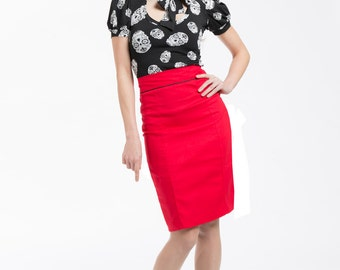 Red, pleat pencil skirt