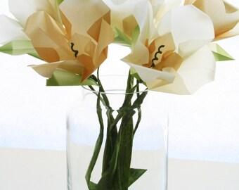 Paper Flowers - Cream n' Gold Lilies Origami Flower Bouquet - Translucent Glowing - Origami Bouquet - Paper Sculpture Art
