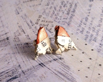 Copper Headed Literary Origami Bird Post Earrings