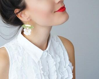 EARRINGS // Handmade Crochet Flower Earrings - White Coral Green - Spring Floral For Her Women Jewelry