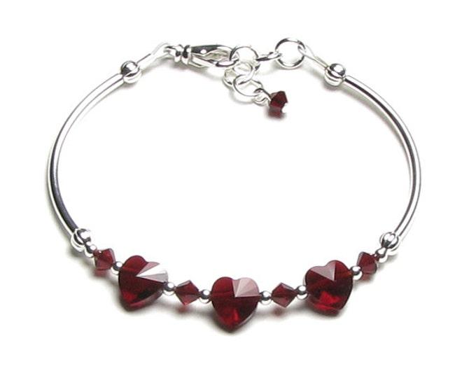 Valentine's Day Siam Red Heart Swarovski Crystal Silver Bracelet Romantic Garnet Jewelry Personalized January Birthstone Teen Birthday Gift
