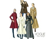 Princess Seam Coat Pattern Uncut Vogue V8346 Double Breasted Shawl Portrait Collar Steampunk Victorian Day Evening Womens Sewing Patterns
