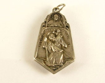 Saint Christopher Scapular Vintage Sterling Religious Medal Pendant on 18 inch sterling silver rolo chain
