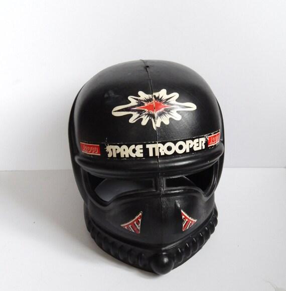 Space Trooper Helmet Vintage Toy Helmet Black Plastic