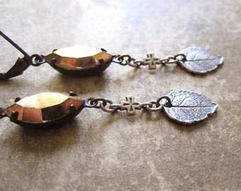 Silver Leaf Assemblage Earrings / Rustic Woodland Wedding Jewelry / Dark Mori