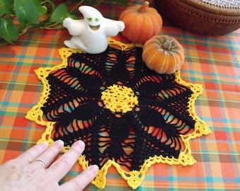 Black Cat Crochet Doily - Halloween Decoration