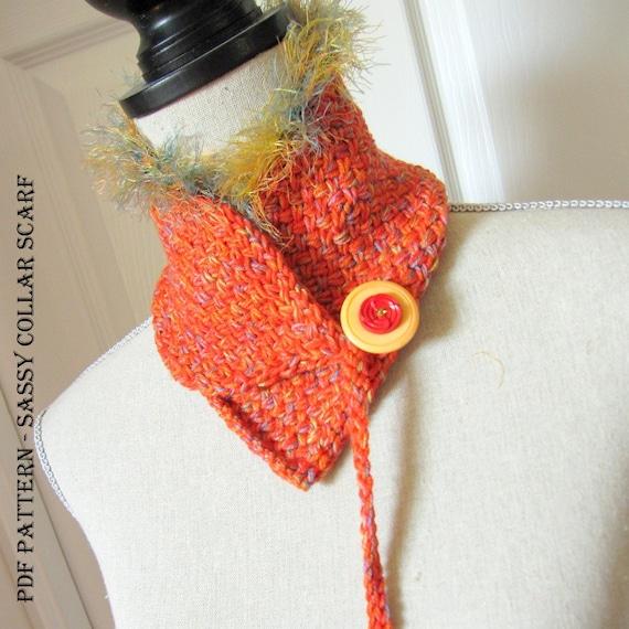 Knitting Pattern For Collar Scarf : PDF Knitting Pattern - Scarf / Collar / Scarflette / Cowl - Sassy from OhmayD...