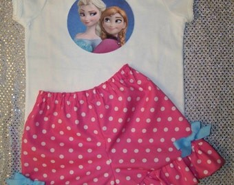 Frozen Short Set / Pink Dots / Elsa / Anna / Olaf / Birthday / Disney Vacation / Girl / Toddler / Custom Boutique Clothing
