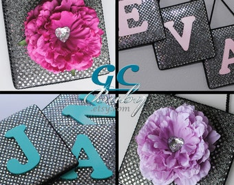 Sequin Sparkle Upholstered Wall Plaque - 11 Fabric Colors - Silk Flower OR Painted Wood Letter - Custom Name for Nursery and Girls Bedroom