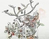 Deer Print, Giclee print, Christmas Gift,  Wall Decor, Animal Print, Giclee Art, Deer painting