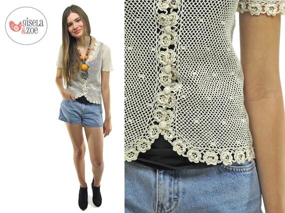 70s Crochet Boho Handmade Top | Cotton Top Bohemian Hippie Floral Cardi • xs • sm
