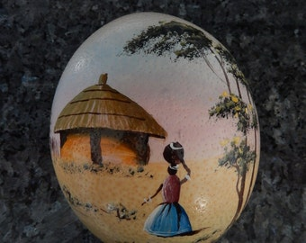 Ostrich Egg-Hand Painted Large Bird Egg-Lady Basket on head-African village scene-Huge bird egg-collectible-souvenir-tribal-unique gift