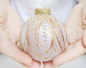 christmas ornament, christmas tree ball ornaments, christmas bulb, christmas balls, handpainted ornament, tree balls - MACAROON