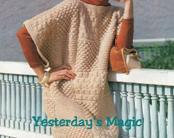 Instant Download PDF Beginners Easy Knitting Pattern to make a Womens Aran Patchwork Sampler  Baggy Sweater Tunic Dress one size fits all