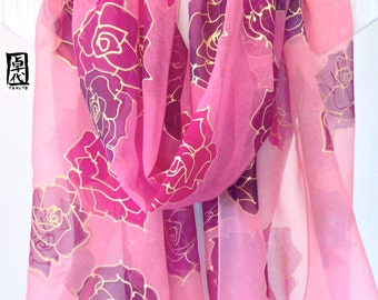 Silk Scarf Handpainted, Etsy, Ladies Silk Wrap, Pink and Gold Floating Word Roses Scarf, Chiffon Scarf, 22x90 inches. Made to order