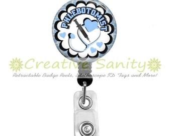 Phlebotomist Retractable ID Badge Holder, Phlebotomist Blue, Phlebotomy, Choice of Badge Reel, Carabiner, Lanyard or Stethoscope ID Tag