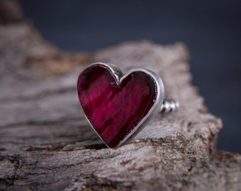 Ruby Heart Ring-Sterling Silver Natural Ruby Ring-Raw Ruby Jewerly-Ruby Ring-July Birthstone Rings