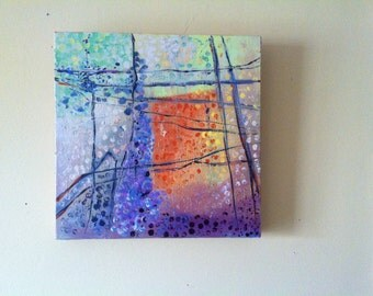 "Absract Art Original  Painting   Acrylic on Canvas  12"" x 12"" Gallery wrapped Canvas CarlottasArt"