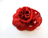 Crochet Scarf, Valentine's Day Gift, Red Crochet Scarf, Crochet Lace, Crochet Lace Scarf