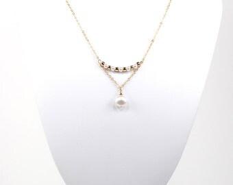 Swarovski Coin Pearl Necklace Bridal Bridesmaid Wedding White Gold Bar Pendant Drop