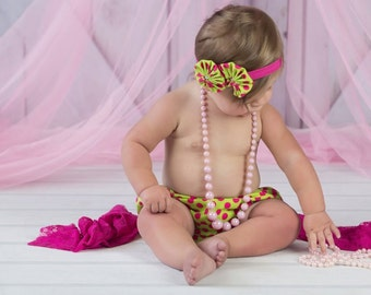 Baby Girl Diaper Cover and Headband Set Newborn Photo Prop Birthday Cake Smash Lime Green Hot Pink Polka Dots Yo Yo Flowers Elastic Headband