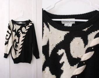 Oversized Beaded Angora Wool Sweater