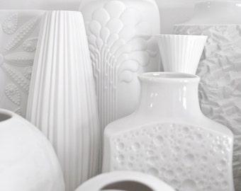 Mid Century Matte White Porcelain Vase Kaiser // Botanical Bohemian Home Decor