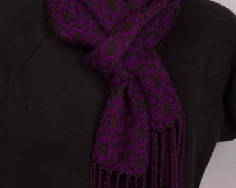 Purple and black handwoven tencel scarf