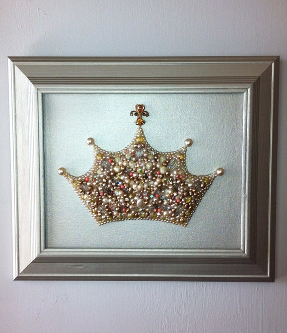Pearl princess crown wall art nursery art princess art crown - Wall decoration with pearls ...