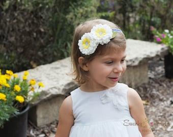 White Felt  Flower Headband - Wool Felt Flower Headband - Baby Headband - Girls Flower Headband - Flower Girl Headband - Easter Headband