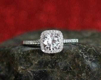 White Sapphire Engagement Ring Cushion Halo Diamond Cuscino Petite Round cut 1ct 6mm Custom Size White-Yellow-Rose Gold-10k-14k-18k-Platinum