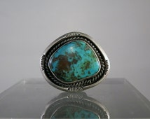 Vintage Navajo Ring Jewelry Bisbee Turquoise Vintage Silver Ring Size 10.5 Natural Turquoise Ring Navajo Tribe Jewelry DanPickedMinerals