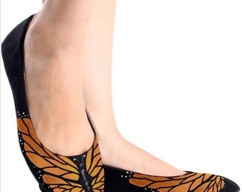 Butterfly Shoes Painted Monarch for Weddings and Events (Simple)