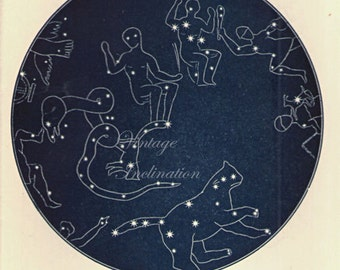 Vintage 1920 ANTIQUE North Polar Star Map 25 Astronomy constellations - star chart star zodiac constellation map