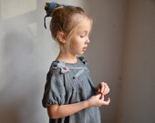 girls dress, tunic grey wool by ZOJKA, 4 - 5 years size toddler, 110 cm size unique kids fashion, eco friendly bubble embroidery flower 187