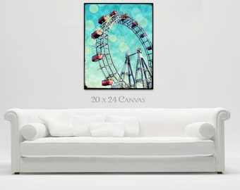 Ferris Wheel Canvas Wall Art Large, Prater Vienna Ferris Wheel Canvas Decor. Bokeh Wall Art Teal