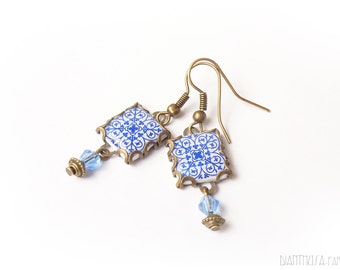 Geometric print earrings Tile earringswith art nouveau style  Blue and white tones.