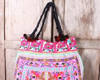 Tote Bag HMONG Embroidered Fabric Hill Tribe Thailand Handmade Pom Pom (BG122-WS)