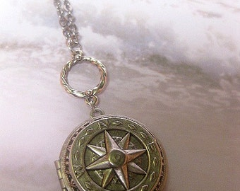 Compass Locket Necklace - True North Locket - Necklace Art Pendant - Compass Pendant - Directional - Long Necklace