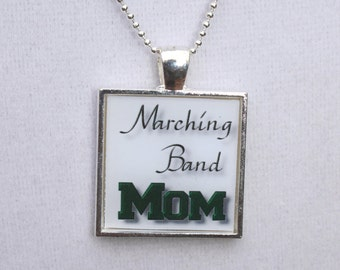 Marching Band Mom Square Resin Pendant, Marching Band Jewelry