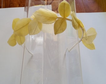 Yellow Silk Leaves Ivory Satin Headband, for weddings, bridesmaids, parties, special occasions