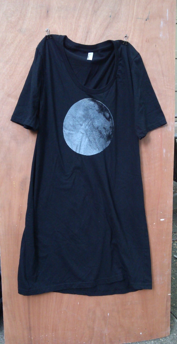 Silver Moon Black T Shirt Dress Cotton American Apparel Yoga