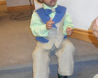 TMD: Baby boy custom made, Hand dyed silk suit..avail from newborn to 5t