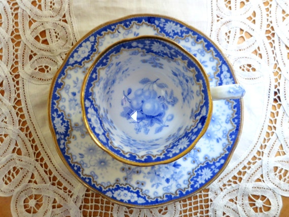 Georgian English Tea Set ~ Antique Minton Felspar Porcelain Teacup & Saucer, Blue Fruit Design, Intricate Grapevine Relief, 1820-1836
